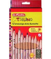 Карандаши цветные утолщенные трехгранные Herlitz Trilino, 12 цветов