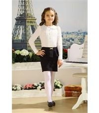 Блузка школьная Маленькая леди молочная с отложным воротником