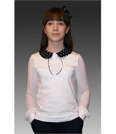Блузка школьная Mattiel D097-146 белая, воротник в горох