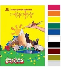 Картон цветной Каляка-Маляка А4, 10цв., 10л.