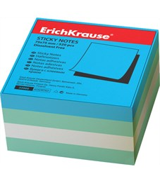 Бумага для заметок с клеевым краем ErichKrause Aqua, 75х75 мм, 320 листов, 4 цвета