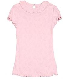Джемпер розовый Снег ажурный с кнопкой короткий рукав