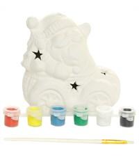 Керамический сувенир для раскрашивания Tukzar Дед Мороз на машине с LED подсветкой