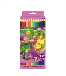 Карандаши цветные SchoolФормат Цветочные Феи 12цв трехгранные