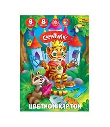 Картон цветной 8 цв. 8 л. А4 Creativiki 190 г/м2