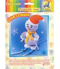 Набор для творчества Бумажные затеи 3D фигурка Снеговик на лыжах, квиллинг,