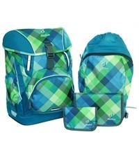 Школьный рюкзак Deuter OneTwo Сине-зеленая клетка с наполнением 4 предмета