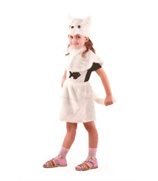 """Новогодний костюм """"Кошка"""" белая для девочки Батик"""