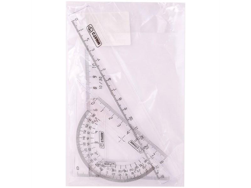 Набор чертежный малый Стамм, (треуг. 2шт., линейка 16см, транспортир), прозрачный, бесцветный