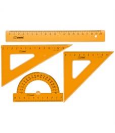 Набор чертежный средний Стамм, (треуг. 2шт., линейка 20см, транспортир), прозрачный флуоресцентный