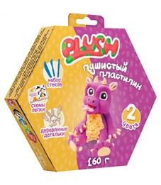 """Набор для лепки: пушистый пластилин """"Plush"""" 2цв.*80г (фиолетовый, оранжевый), дерев. детали, стеки"""