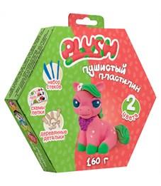 """Набор для лепки: пушистый пластилин """"Plush"""" 2цв.*80г (розовый, зеленый), дерев. детали, стеки"""