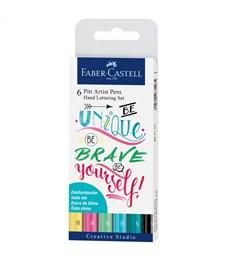 "Набор капиллярных ручек Faber-Castell ""Pitt Artist Pen Lettering"" ассорти, 6шт., 0,3мм/Brush, евр."