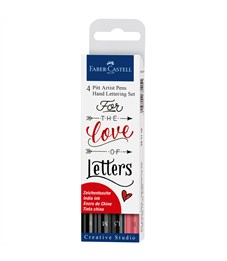 "Набор капиллярных ручек Faber-Castell ""Pitt Artist Pen Lettering"" ассорти, 4шт., 0,3/0,7/1,5мм/Brush"