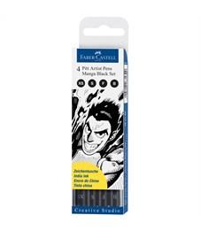 """Набор капиллярных ручек Faber-Castell """"Pitt Artist Pen Manga Black set"""" черные, 4шт., 0,1/0,3/0,5мм"""