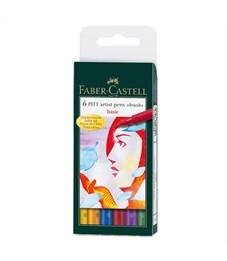 "Набор капиллярных ручек Faber-Castell ""Pitt Artist Pen Brush Basic"" ассорти,6шт.,пласт. уп., европ."