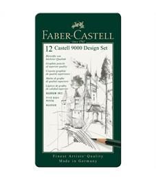 """Набор карандашей ч/г Faber-Castell """"Castell 9000 Design Set"""", 12шт., 6H-4B, заточен., метал. кор."""