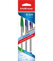 Ручка шариковая ErichKrause R-301 Classic Stick 1.0, цвет синий, синий, зеленый (в пакете по 3 шт.)