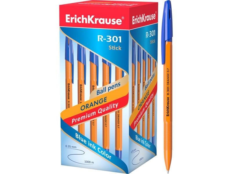 Шариковая ручка Erich Krause R-301 ORANGE 0.7 Stick,  синий