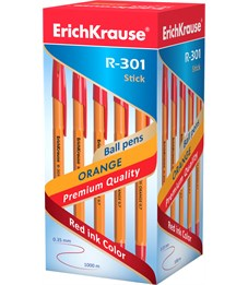 Шариковая ручка Erich Krause R-301 ORANGE 0.7 Stick, красный