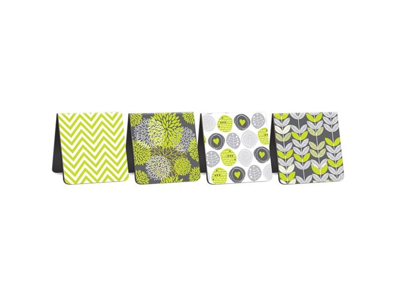 """Закладки магнитные для книг 35*35мм, 4шт., ArtSpace """"Lime & Grey"""""""