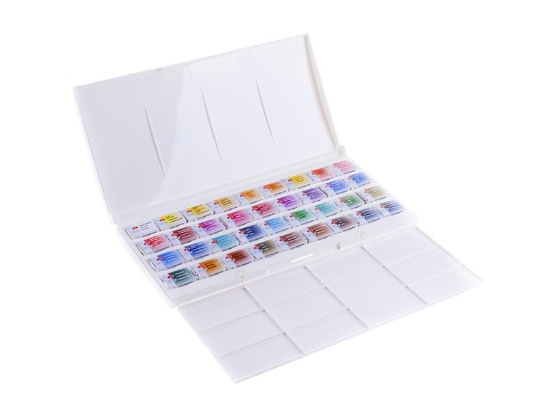 Акварель Белые ночи, художественная, 36 цветов, кюветы, пластик, палитра