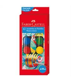 Акварель Faber-Castell, 12 цветов, диаметр 24 мм, с кистью, картон, европодвес
