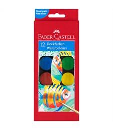 Акварель Faber-Castell, 12 цветов, диаметр 30мм, с кистью, картон, европодвес