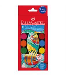 Акварель Faber-Castell, 21 цвет, диаметр 30 мм, 2 кисти, картон, европодвес