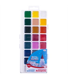 "Акварель Гамма ""Чудо-краски"", медовая, 24 цвета, без кисти, пластик, европодвес"