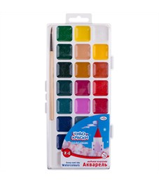"""Акварель Гамма """"Чудо-краски"""", медовая, 24 цвета, с кистью, пластик, европодвес"""