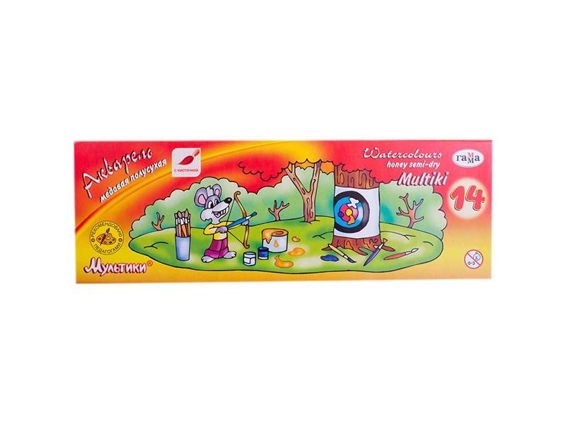 """Акварель Гамма """"Мультики"""", медовая, 14 цветов, с кистью, картон"""
