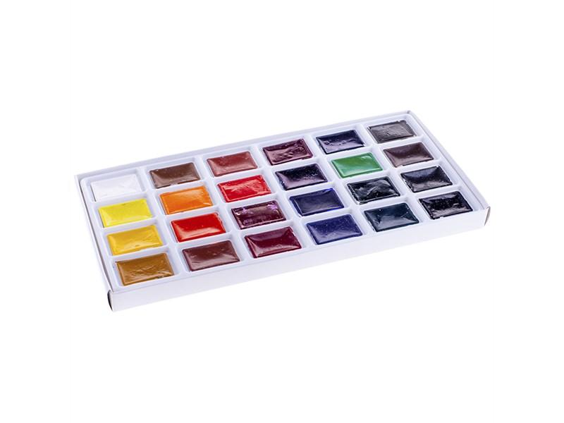 Акварель Ладога, художественная, 24 цвета, кюветы, картон
