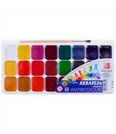 """Акварель Луч """"Классика"""", медовая, 24 цвета, с кистью, пластик"""