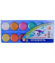 "Акварель Луч ""Перламутрики"", 12 цветов, без кисти, перламутровая, пластик"