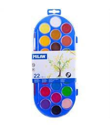 Акварель Milan, 22 цвета, с кистью, пластик, европодвес