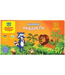 """Акварель Мульти-Пульти """"Енот в джунглях"""", медовая, 10 цветов, без кисти, картон"""