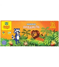 """Акварель Мульти-Пульти """"Енот в джунглях"""", медовая, 12 цветов, без кисти, картон"""