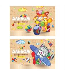 """Альбом для рисования 40л., А4, на скрепке ArtSpace """"Веселые мультяшки"""""""