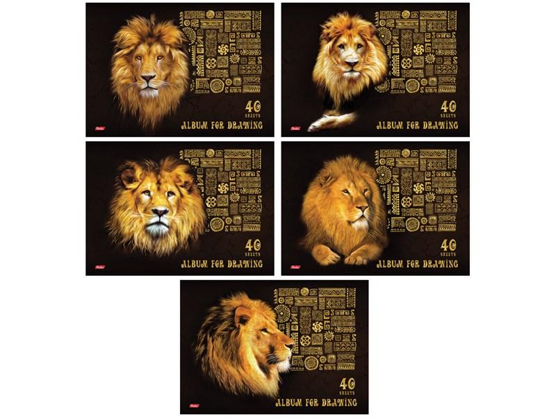"""Альбом для рисования 40л., А4, на скрепке Hatber """"KingLion"""", 3D фольга, мат. лам."""
