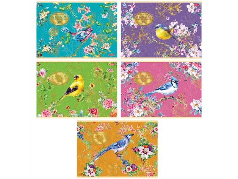 """Альбом для рисования 40л., А4, на скрепке Hatber """"Райские пташки"""", 3D фольга, мат. лам."""