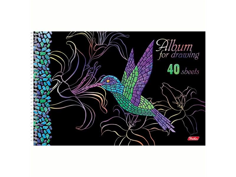 """Альбом для рисования 40л., А4, на спирали Hatber """"Мозаика"""", 3D-лак, 3D-фольга, перфорация на отрыв"""