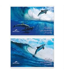 Альбом для рисования SchoolФОРМАТ Дельфины А4, 24 листа