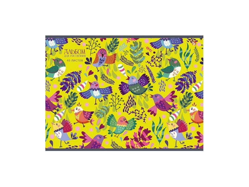 Альбом для рисования Unnika Разноцветные птицы 40л А4 склейка