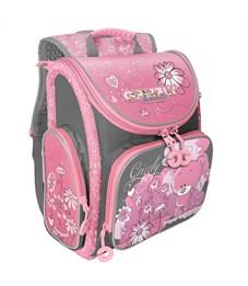 Ранец Grizzly, 34*37*18см, 1 отделение, 3 кармана, анатомическая спинка, серый-розовый