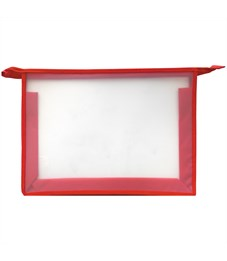 Папка для тетрадей 1 отделение, А4, ArtSpace прозрачная/красная, пластик, на молнии