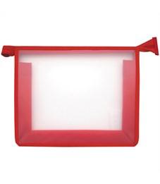 Папка для тетрадей 1 отделение, А5, ArtSpace прозрачная/красная, пластик, на молнии