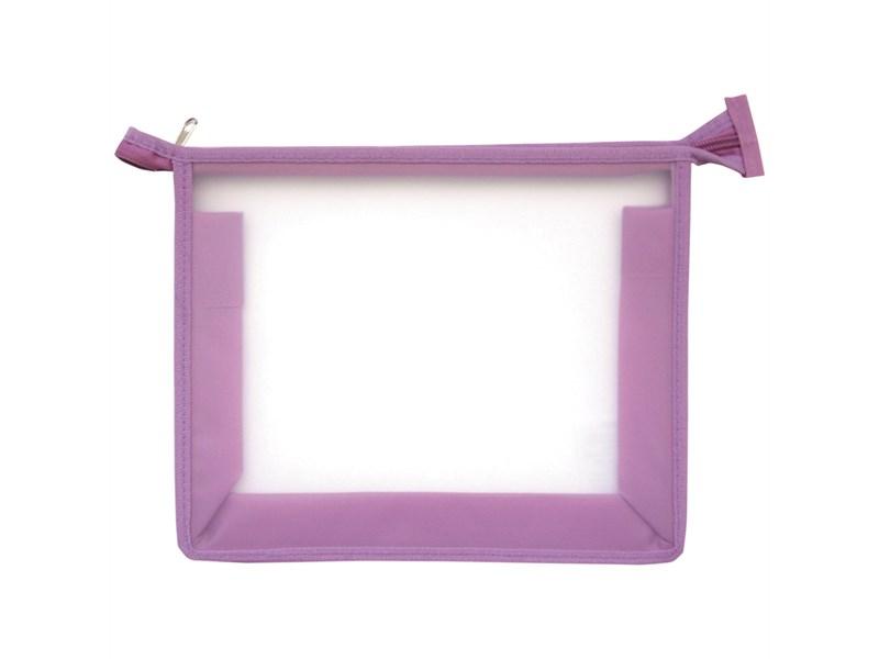 Папка для тетрадей 1 отделение, А5, ArtSpace прозрачная/сиреневая, пластик, на молнии