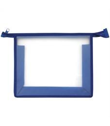Папка для тетрадей 1 отделение, А5, ArtSpace прозрачная/синяя, пластик, на молнии