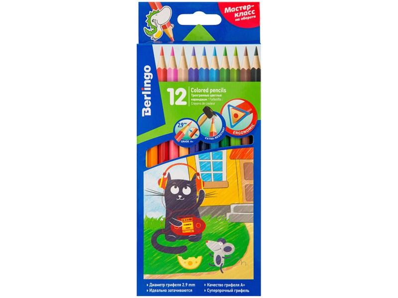 """Карандаши цветные Berlingo """"Жил-был кот"""", 12цв., трехгран., заточен., картон, европодвес"""